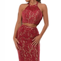 Red Halter Neck Lace two piece Skirt Set