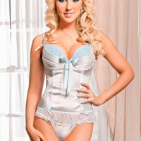 iCollection Lingerie Plus size Satin And Matte Pleated Cups Bustier