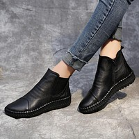 New Women Flat Bottom Leisure Soft Bottom Cattle Leather Boots