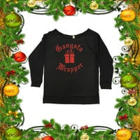Gangsta Wrapper. Red Glitter Sparkle .ON SALE. Off Shoulder Raglan Tee. 3/4 Sleeve. Christmas Gifts. Cozy Terry Raw Edge. Clearance Item.