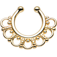 Gold PVD Tribal Blossom Non-Pierced Clip On Septum Ring | Body Candy Body Jewelry