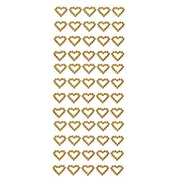 Heart Rhinestone Stickers, 1/2-Inch, 60-Count, Gold
