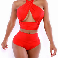 Stylish Halter High-Waist Solid Color Two-Piece Swimsuit - Red