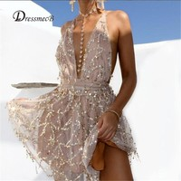 Sexy Club Jumpsuits Women Gold Sequin Jumpsuit Deep V-neck Sleeveless Bodysuit Catsuit Jumpsuit Tassels Full Bodysuit Overalls