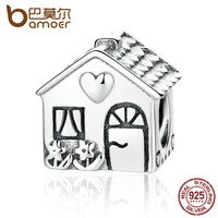 BAMOER Authentic 925 Sterling Silver Love Heart House Charms Fit BME Bracelets Families Gift Fine Jewelry PAS341