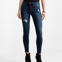 Seriously Stretchy Dark Wash Destroyed High-Waisted Jegging