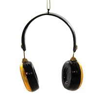 Holiday Ornaments HEADPHONES Glass Music Noiuse Canceling T2584 Gold