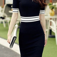 Short Sleeve Striped Knitted Dress