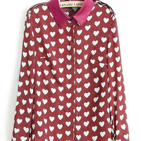 'The Kaylee' Heart Printed Long Sleeve Chiffon Blouse