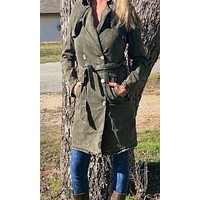 NuVintage Double-Breasted Trench Coat~ Army Green Acid Wash