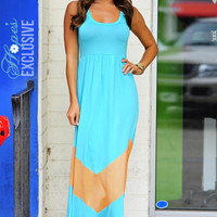 HOPE'S: Chevron Maxi Dress: Teal/Peach | Hope's