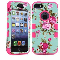 MagicSky Plastic + Silicone Tuff Dual Layer Hybrid Rose Flower On Green Case for Apple iPhone 5/5S - 1 Pack - Retail Packaging - Black