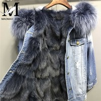 Winter Women Denim Jacket with Real Fox Fur Lining Big Raccoon Fur Hooded Collar Parka Overcoat Real Genuine Fox Fur Coat