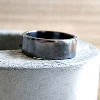 Men's Ring Unisex Simple Flat 7mm Band Oxidized by TheSlyFox