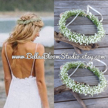 Gia Baby's Breath -  Fresh Flower Crown, Floral Boho Head Piece, Bridal Flower crown Baby Breath Flower Halo communion headpiece crown etsy