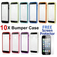 Pack of 10 Color Clear TPU Silicone Bumper Frame Case W/ Metal Buttons for iPhone 5 5G 5th - 10Pcs case