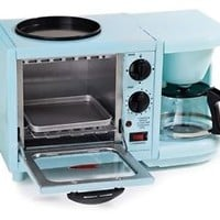 MaxiMatic 3-in-1 Breakfast Toaster Oven Griddle Coffee Maker Deluxe - Blue