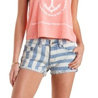 Med Wash Denim Low Rise Striped Denim Shorts by Charlotte Russe