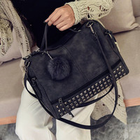Motorcycle Style Studded Large Crossbody Shoulder Handbags Nubuck Leather Bag for Women Gift