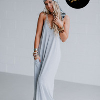 Dreaming the Same Dream Maxi Dress and Bandana Scarf OOTW - Heather Gray
