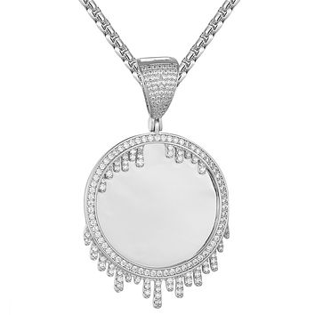 Sterling Silver Picture Circle Memory Dripping Icy Pendant