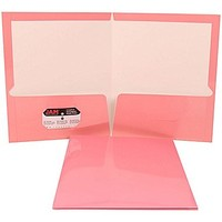 JAM Paper® Glossy Two Pocket Presentation Folder Baby Pink, Sold Individually | Staples®