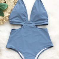 Sexy Women Blue Deep V Collar Halter Waist Hollow One Piece Bikini Swimsuit Bathing I