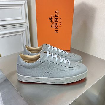 HERMES 2021 Men Fashion Boots fashionable Casual leather Breathable Sneakers Running Shoes09170cx