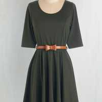 Mid-length A-line Abiding Beauty Dress in Olive