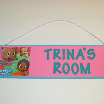Bubble Guppies Personalized Room Decor Sign - Bubble Guppies Customized Room Decor