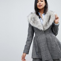 ASOS DESIGN check skater with faux fur trim | ASOS