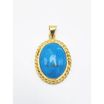 Turquoise Mini Ellipse Handcrafted Pendant 925 Sterling Silver Part Size : L:1.18in (3cm)