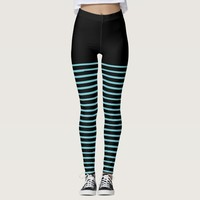 Black and Blue Stripes Pattern Striped Leggings