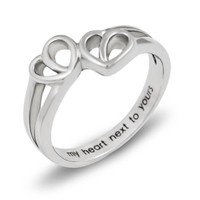 Double Hearts Promise Ring My Heart Next to Yours Best Gift Purity Ring Love