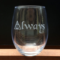 Elegant Wine Glass with Harry Potter Deathly Hallows, Always, Hand Etched