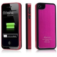 Alpatronix MFi Apple Certified BX100 1900mAh iPhone 4/4S Battery Charging Case (Ultra Slim Removable Extended Battery, Fits all models of Apple iPhone 4/4S - Retail Packaging) - Aluminum Pink/Black