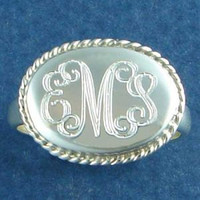 Sterling Silver Oval Rope Accent Ring  Font Shown INTERLOCKING