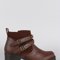 Bamboo Studded Buckle Strap Round Toe Booties