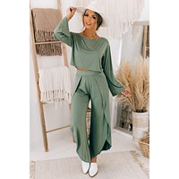 Music To My Ears Two Piece Set (Army Green)