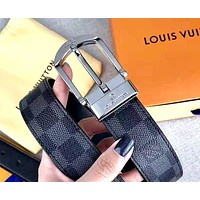 LV tide brand men and women chess board pin buckle belt silver