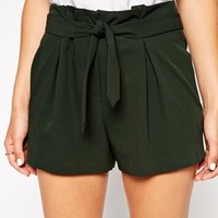 ASOS Shorts with Belted Waist Detail - Green