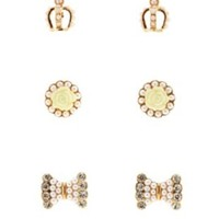 Gold Faux Pearl Crown & Bow Stud Earrings - 3 Pack by Charlotte Russe