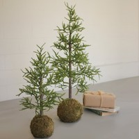 Artificial Pine Trees With Round Moss Base (Set of 2)