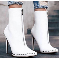 Rivet Pointed Toe Leather Half Boots High Heels Shoes