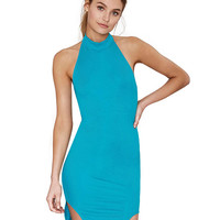 Halter Backless Asymmetric Bodycon Mini Dress