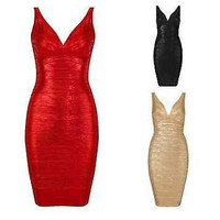 Red Black Gold Celebrity Bandage Bodycon Dress Sleeveless Cocktail Party XS-L