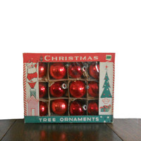 Vintage Ornaments Christmas Tree Red Bulbs 1950s - Set of 12- 2 Inch Bulbs - Made in Poland - Fantasia Brand
