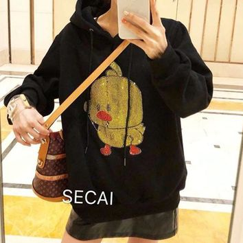 """""""SECAl"""" Women Personality Diamond Sequin Pattern  Long Sleeve Hooded Sweater Tops"""
