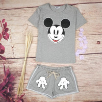 Mickey Mouse Print Short Sleeve Two-Piece Suit