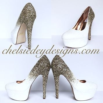 Gold Ombre Glitter High Heels - White Platform Prom Pumps
